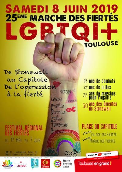 affiche Marche des Fiertés LGBTQI+ de Toulouse 2019
