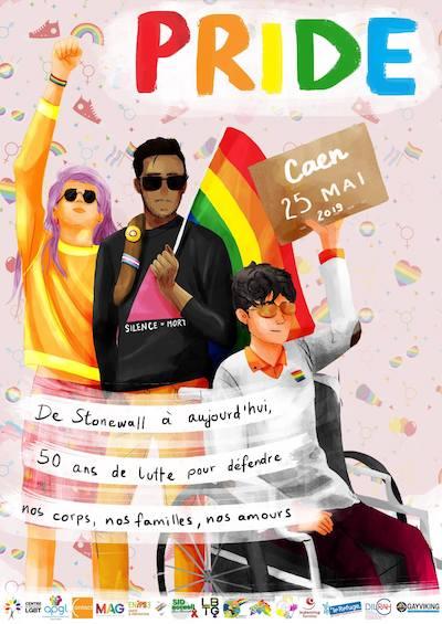 Affiche Marche des Fiertéz LGBTQI+ Caen 2019